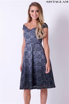 Sistaglam Lace Bardot Skater Dress