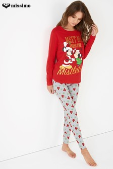 Missimo Minnie And Mickey Mistletoe Christmas PJ Set