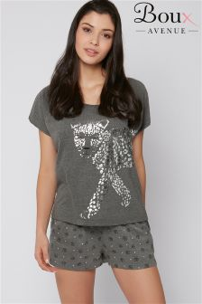 Boux Avenue Kastiges T-Shirt mit Leopardenmuster im Set