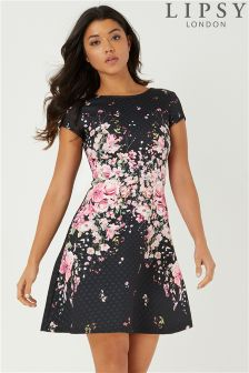 Lipsy Petite Textured Print Skater Dress