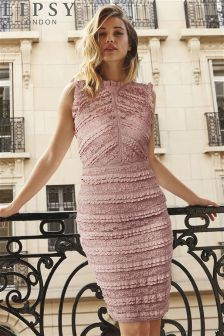 Pink                     Lipsy Petite All Over Lace Ruffle Bodycon Dress