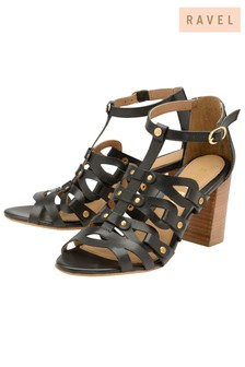 Ravel Mid Heel Leather Sandals