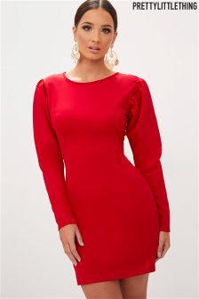 PrettyLittleThing Padded Shoulder Bodycon Dress