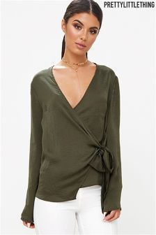 PrettyLittleThing Khaki Wrap Top