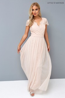 Little Mistress Nude Lace Wrap Maxi Dress