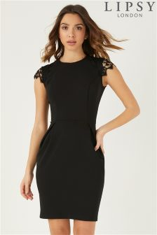 Lipsy Lace Sleeve Workwear Dress