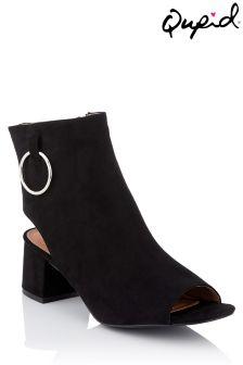 Qupid Peep Toe Suedette Boots