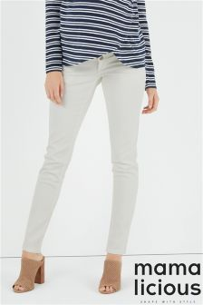 Mamalicious Maternity Over The Bump Slim Plain Jeans