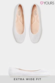 Yours Curve Glitter Ballerina Pumps In Extra Wide Fit