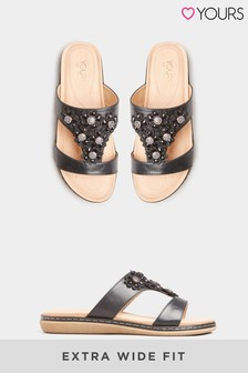 Yours Curve Flower Diamante Mules In Extra Wide Fit