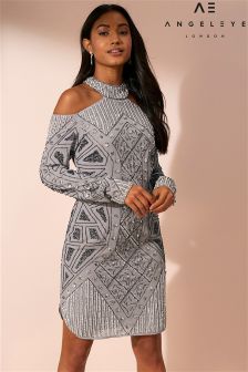 Angeleye Cold Shoulder Embellished Bodycon Dress