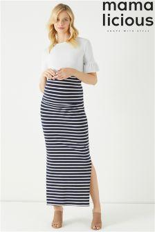 Mamalicious Maternity Stripe Maxi Skirt