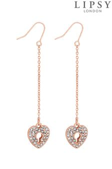 Lipsy Crystal Heart Padlock Earring