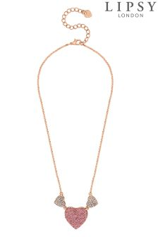 Lipsy Crystal Pave Heart Necklace