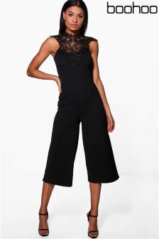 Boohoo Crochet High Neck Culotte Jumpsuit