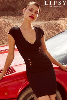 Lipsy Petite Button Detail Ruched Dress
