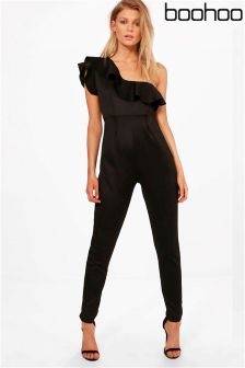Boohoo Petite One Shoulder Frill Jumpsuit