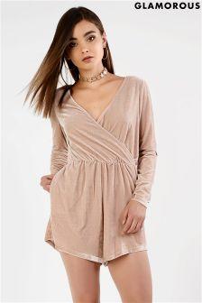 Glamorous Wrap Front Velvet Long Sleeved Playsuit