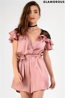 Glamorous Satin And Lace Playsuit With Frill Shoulder Detailing