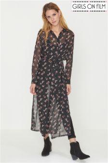 Girls On Film Floral Print Shirt Dress