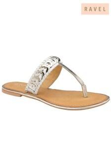 Ravel Diamanté Flat Leather Sandals