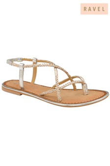 Ravel Cross Over Strappy Flat Leather Sandals