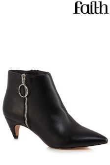 Faith Bolly Zip Detail Peg Heel Boots