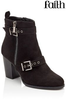 Faith Willow Zip And Buckle Detail Boots