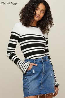 Črtast pulover z manšeto na zvonec Miss Selfridge
