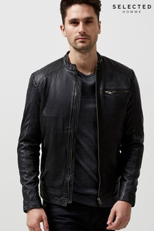 Selected Homme Slim Fit Leather Jacket