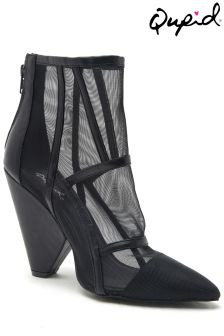 Qupid Meshed Heel Ankle Boots