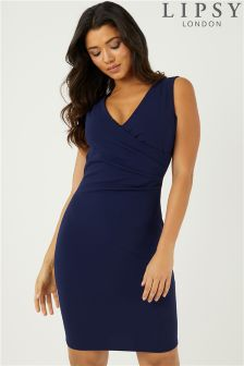Lipsy Sleeveless Ruched Wrap Bodycon Dress