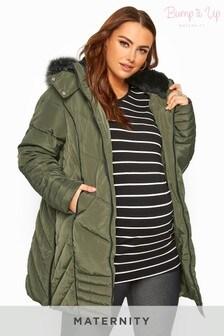 Bump It Up Maternity PU Trim Longline Puffer Jacket