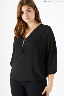 Mela London Curve Batwing Zip Detail Top