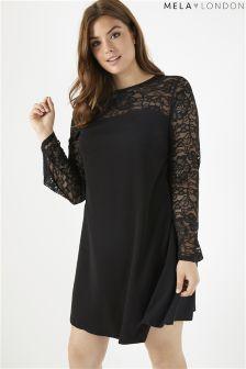 Mela London Curve Lace Contrast Dress