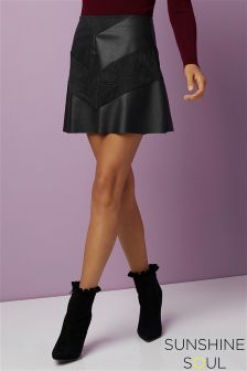 Sunshine Soul Faux Leather Mini Skirt