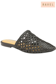 Ravel Woven Open Back Leather Flats
