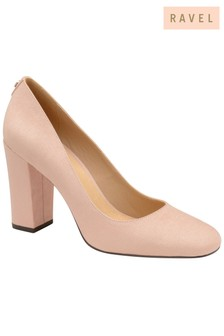 Ravel Block Heel Leather Courts