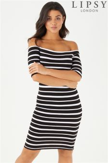 Lipsy Stripe Bardot Dress