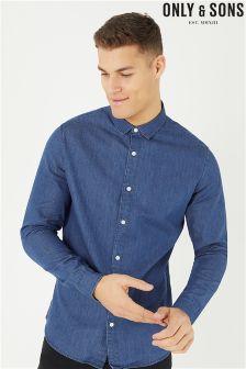 חולצת ג'ינס ארוכה מדגם Nevin של Only & Sons