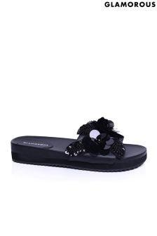 Glamorous 3D Flower Slider Sandals