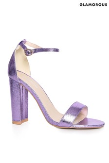 Glamorous Block Heel Metallic Sandals