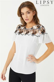 Lipsy Lace Flute Sleeve Top