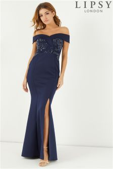 Lipsy Sequin Lace Bardot Maxi Dress