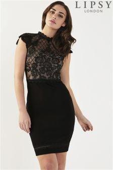 Lipsy Lace Grid Artwork Bodycon Dress