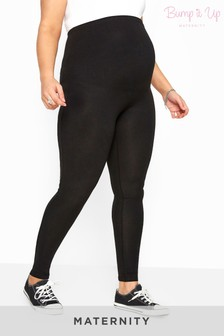Bump It Up Maternity Black Cotton Essential Leggings With Comfort Panelnity