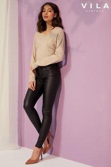 Vila Mit PU beschichtete Skinny-Jeans