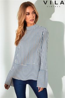 Vila High Neck Long Sleeve Stripped Top