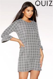 Quiz Jaquard Check Frill Sleeve Tunic Dress