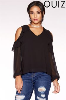 Quiz Ruffle Detail Cold Shoulder Top
